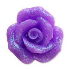 20mm PURPLE Glitter Rose Resin Flatback Cabochon
